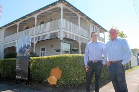 HISTORIC SALE: Glenn (right) and Nathan Mills from McGrath real estate agency in Ballina are the selling agents for the historic Ballina building, Riversleigh.