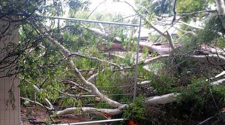Storm damage at Allora State School.