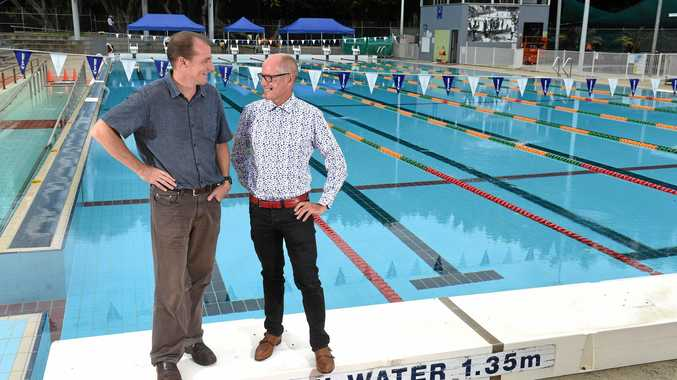 Lismore Mayor Isaac Smith and Councils Manager Major Recreation and Cultural Facilities Tony Duffy at the new-look Lismore Memorial Baths prior to reopening on Monday, 11 December.