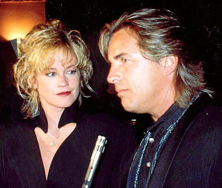 Melanie Griffith and Don Johnson at the APLA benefit in 1990.