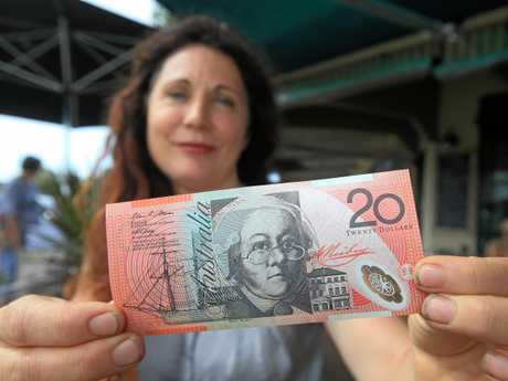 Tweed councillor Chris Cherry with a $20 note featuring a portrait of her great-great-great-great grandmother.