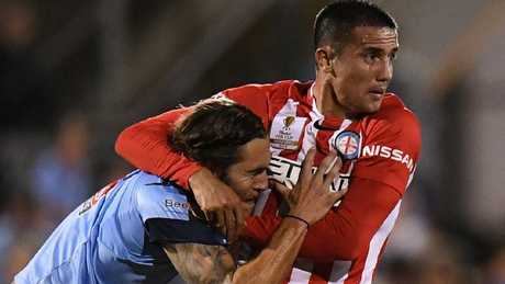 Tim Cahill was disappointed he started on the bench in Melbourne City's quarter-final against Sydney FC. Picture: AAP