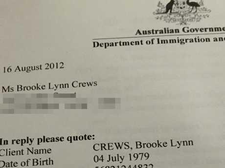 Brooke Lynn Crews immigration document