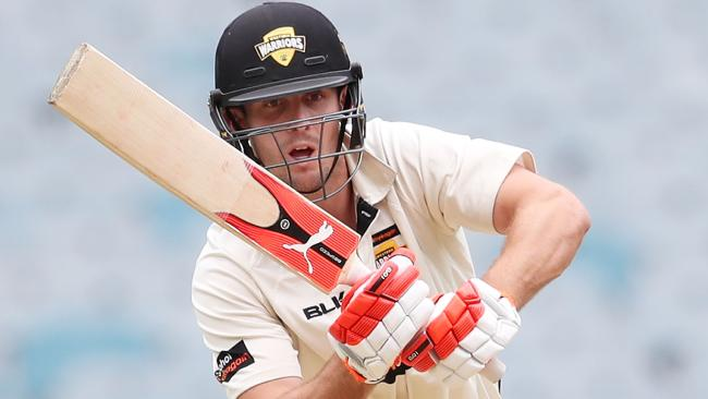 Mitchell Marsh bats during day one of a Sheffield Shield match.