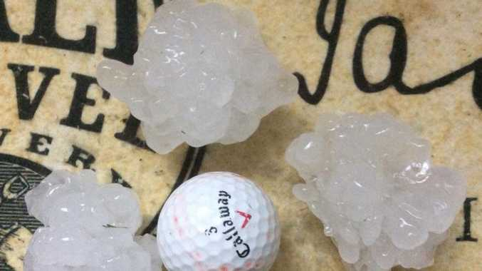 Tessa Bloomer snapped this picture of golf ball-sized hail at Westlawn.