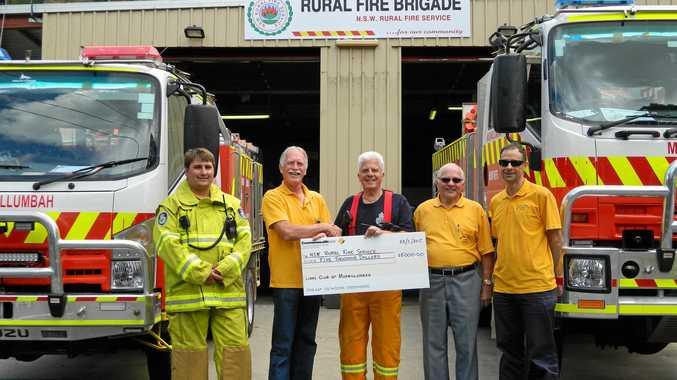 BIG THANKS: Murwillumbah Rural Fire Brigade recently welcomed a donation from Murwillumbah Lions.