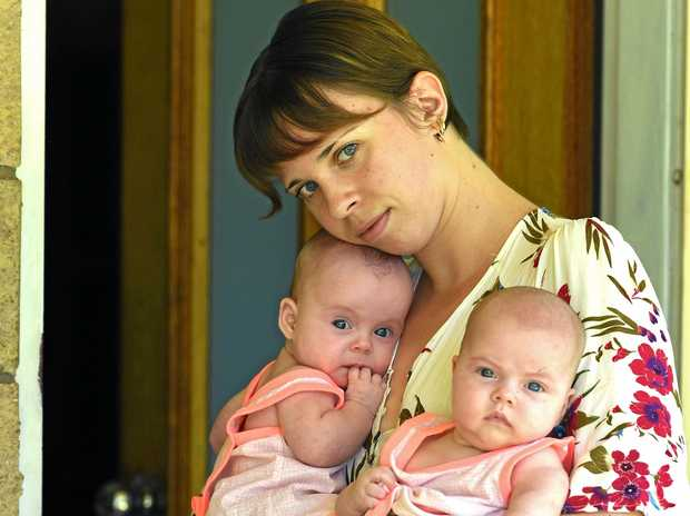 HOMELESS: Zoe Wisse and her twins Carma and Willow are at risk of being homeless this Christmas.