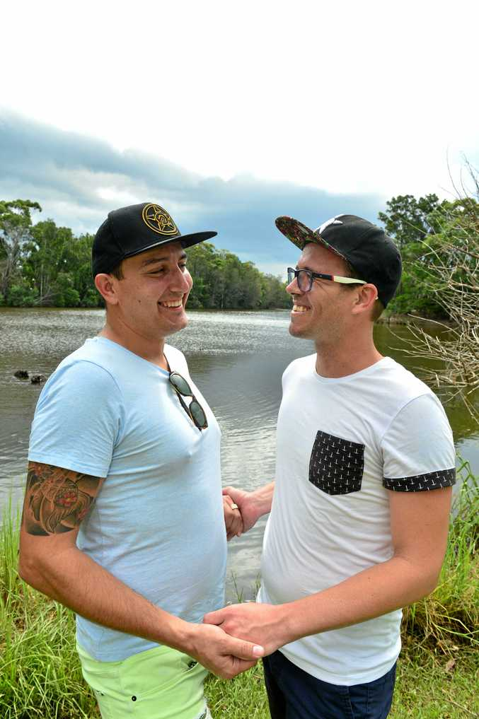 OVER THE MOON: Sandy Wert and Chris Symanski are simply delighted that they can now marry each other.