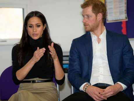 Prince Harry and fiancee Meghan Markle on their first official outing as an engaged couple, to Nottingham Academy last week. Picture: Andy Stenning.