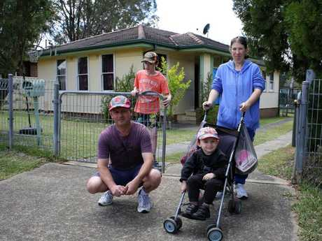 Young parents Julie Dahms and Raymond Walter and their young sons have finally been given a housing home in Sydney. Picture: Matrix for news.com.au