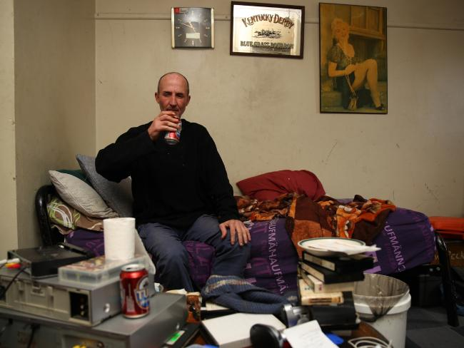 Colin Peckham, 51, in his Miller bedsit hasn't worked since 2012 because of his back. Picture: Matrix for news.com.au