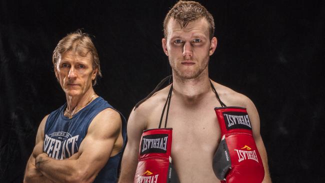 Jeff Horn and trainer Glenn Rushton.