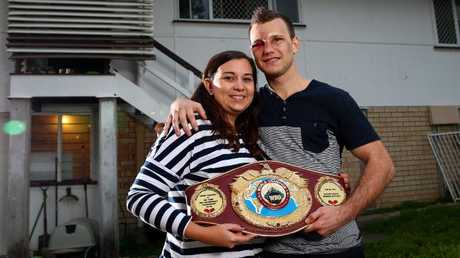 World Champion boxer Jeff Horn and his wife Jo at home in Acacia Ridge. Picture:  Adam Head