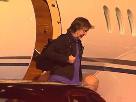 Sir Paul McCartney touches down in Brisbane. Picture: 7 News