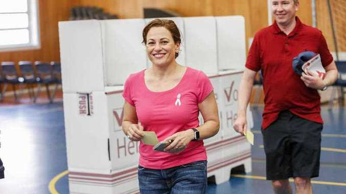 Queensland Deputy Premier Jackie Trad, member for the seat of South Brisbane with her husband Dmien Van Brunschot at a voting station at West End State School, Brisbane, Saturday, November 25, 2017.