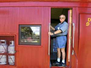 ALL ABOARD: Graham Hibberd at the Bundaberg Railway Historical Society.