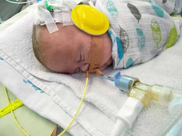 HOME BY CHRISTMAS: Little Eddie has had several complications in hospital after being born at 26 weeks old, but now the little fighter could be home in time for Santa.