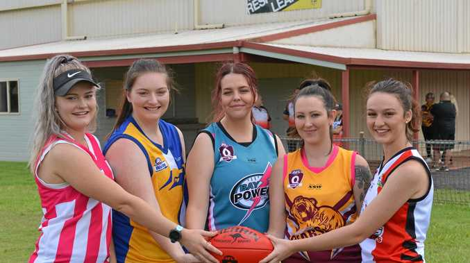 ALL IN: Hervey Bay's Taylah King, The Waves Jessica Faithfull, Bay Power's Montanna Lees, Maryborough's Jazmyn Alexander and Brothers Daniella Baulch are ready to play in the new women's competition.