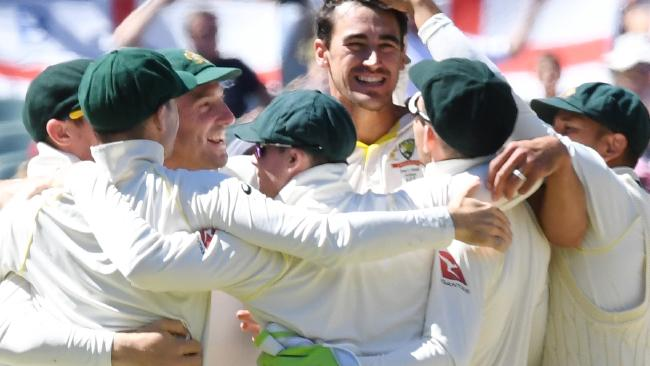Australia celebrate Mitchell Starc's fifth wicket, Jonny Bairstow, that won the second Test against England at the Adelaide Oval. Pic: AAP/Dean Lewins.