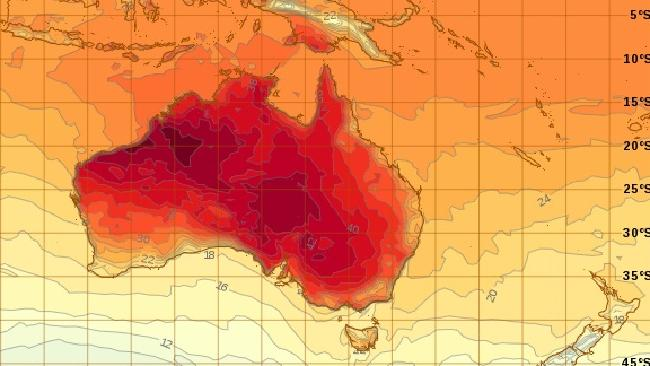 Australia will face a heatwave this week — and NSW will be among the worst hit. Image: Bureau of Meteorology