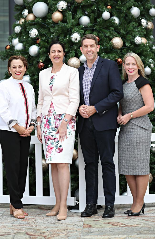 Premier Annastacia Palaszczuk (second from left) with new Treasurer Jackie Trad, State Development, Infrastructure, Planning and Manufacturing Minister Cameron Dick and Tourism Industry Development, Innovation and Commonwealth Games Minister Kate Jones.