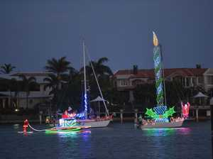 Boats at Mooloolaba for the Christmas boat parade.