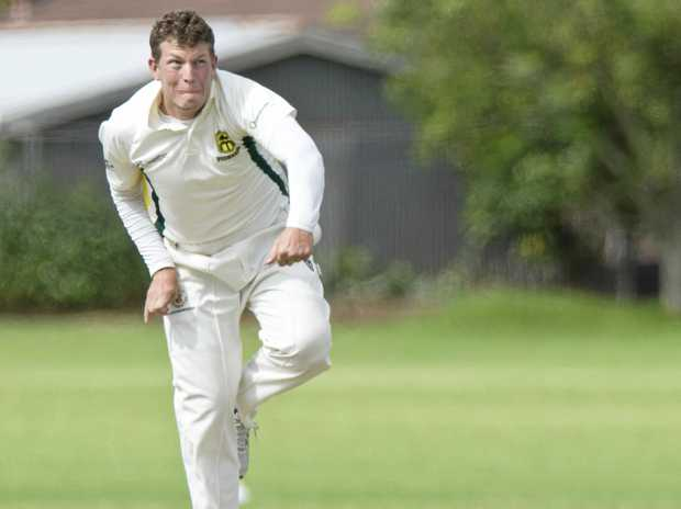 Alex Welsh bowls for Ipswich against Toowoomba Cavaliers in Webb Shield representative cricket at Captain Cook Oval, Sunday, January 22, 2017.