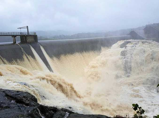 Wappa Dam overflows earlier this year.