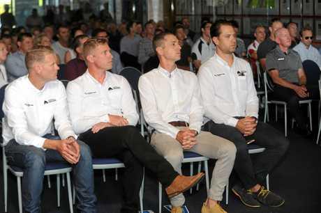 David Spindler, Stuart Shaw, Matt Wilson and Ben Kersten at the launch of the Australian Cycling Academy.