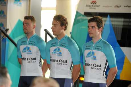 Riders Leigh Howard, Sam Welsford and the Coast's own Daniel Fitter at the launch of the Australian Cycling Academy.
