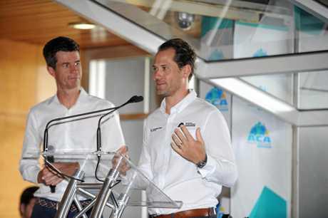 Cycling commentator Matt Keenan and Ben Kersten the launch of the Australian Cycling Academy.