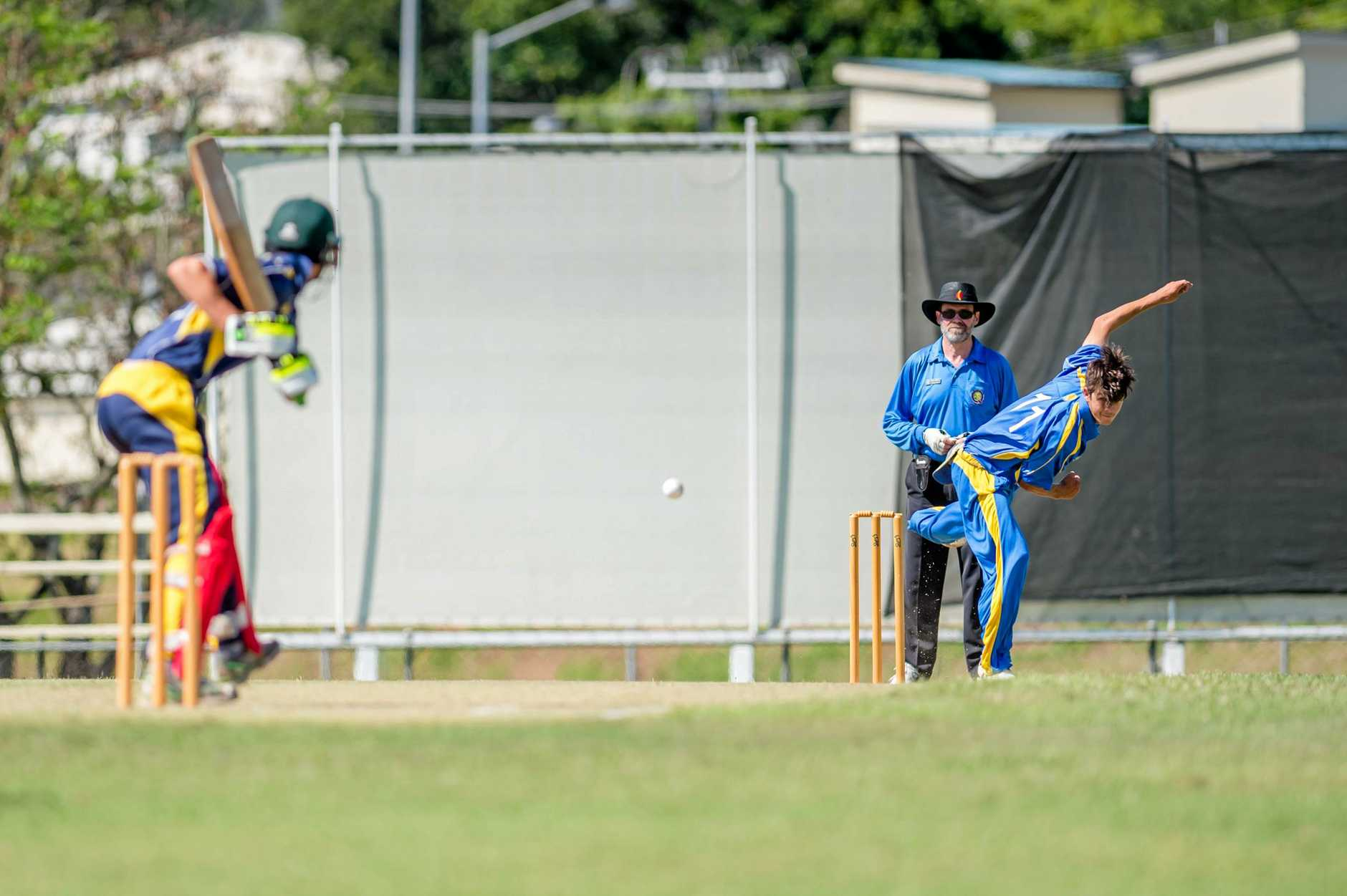 BOUNCING BACK: Nambour bowler Hayden O'Connor delivers a fierce ball to the Gympie batsman.