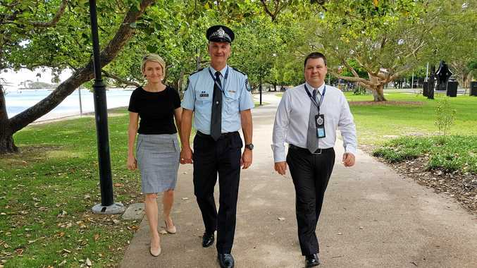 Maroochydore police officers Mel Davis, officer in charge senior sergeant Troy Pukallus and sergeant Jay Pickard.