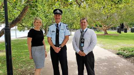 Maroochydore police officers Mel Davis, officer in charge senior sergeant Troy Pukallus and Jay Pickard,
