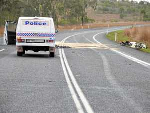 The scene of a double fatality near Huts Creek on the Bruce Highway.  Photo Ebony Battersby / The Observer