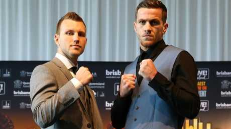 Jeff Horn and Gary Corcoran shape up ahead of their title fight at the Brisbane Convention Centre. Picture: Liam Kidston