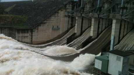 Wivenhoe dam in January 2011.