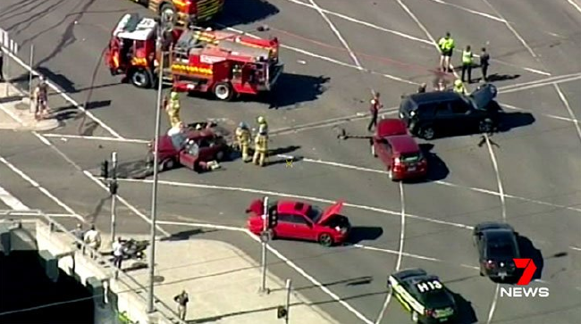 The multi-car collision has injured several people. Picture: Channel 7