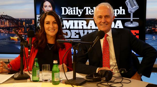 Miranda Devine and the Prime Minister Malcolm Turnbull in the studio at News Corp Australia's Surry Hills office for the first Miranda Devine Live radio show. Picture: Jonathan Ng