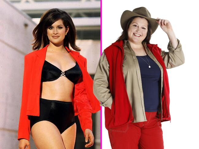 L. The former model in her heyday as Kate Fischer. R. Malkah on I'm A Celeb.