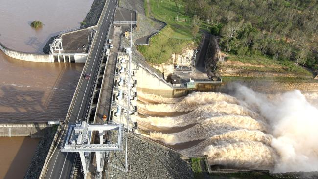Water pours over the spillway at Wivenhoe Dam, west of Brisbane, during the 2011 floods.