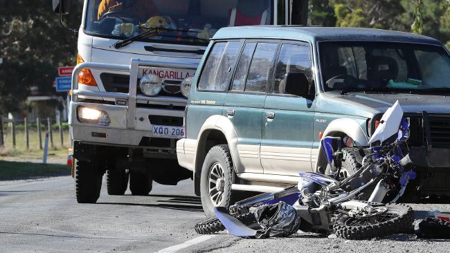 A young male motorcyclist has died after colliding with a car in Kangarilla.