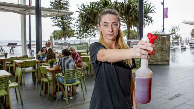 Greek Street Grill employee Hannah Ingram is a 'bird shoo-er'. Picture: Jerad Williams