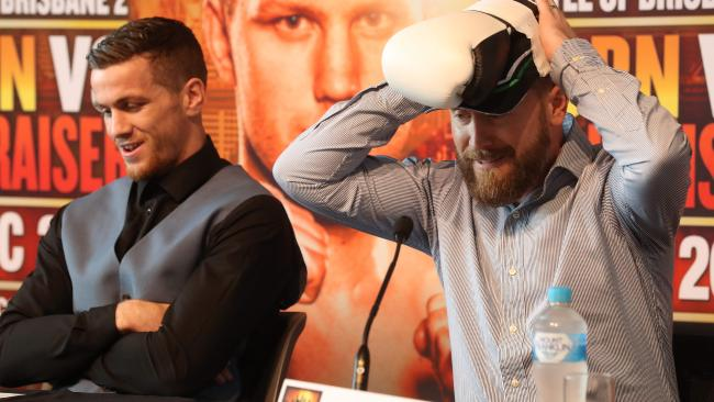 Gary Corcoran's trainer Frank Greaves shows his glove hat to the media. Picture: Liam Kidston.