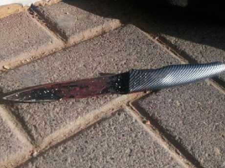 The knife that was allegedly used to attack an Israeli security guard
