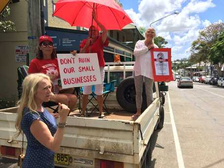 Bangalow Chamber of Commerce president Jo Millar with protesters in Bangalow.