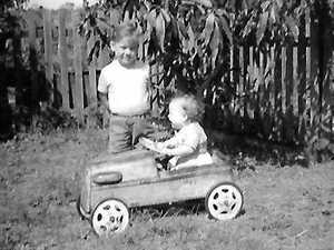 Barry O'Rourke as a toddler with his sister in 1968.