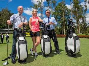 Member for Coffs Harbour Andrew Fraser, local golf professional Emma de Groot and Deputy Premier John Barilaro at Bonville Golf Resort for Monday's announcement.