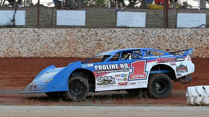 SUPER SEDANS: Matt Pascoe racing at Carina Speedway in Bundaberg.