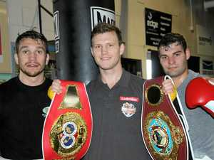 World champion Jeff Horn at Toowoomba's TGW & Smithy's Gym last year with Toowoomba boxers Steven Spark (left) and Brent Rice.